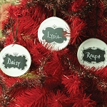 Holiday Christmas, Halloween, Chalkboard Porcelain Organizer Ornaments Set 3