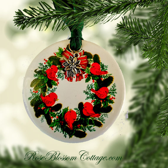 Add to My Lists. Red Birds Wreath Porcelain Christmas Ornament Xmas