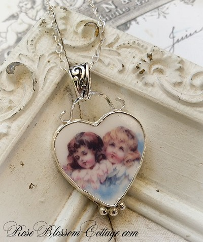 SALE Two Angels Broken China Jewelry Heart Pendant Necklace Sterling