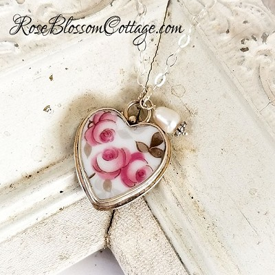 Vintage Three Pink Roses Petite Broken China Jewelry Charm or Small Pendant Necklace