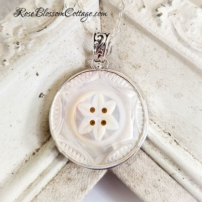 SOLD Antique Mother Pearl MOP Carved Star burst Button Pendant Necklace Sterling