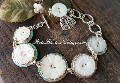 SOLD Antique Carved Mother of Pearl Button Bracelet