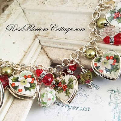 Christmas Holly & Berries Broken China Jewelry Xmas Charm Bracelet