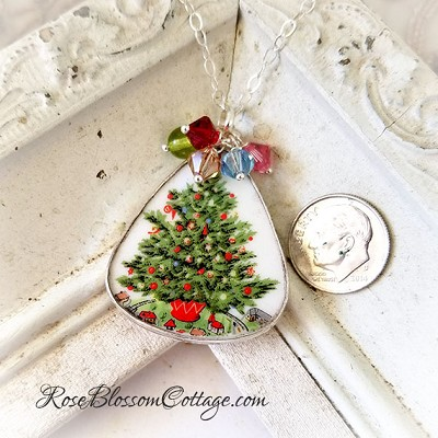 Christmas Tree with Swarovski Crystals Broken China Jewelry Large Triangle Pendant Necklace