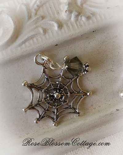Sterling Spider Web Crystal Halloween Charm