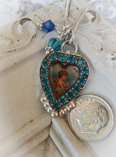Valentine Special Swarovski Crystal Teal & Blue Praying Angel Charm Necklace