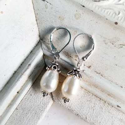 Swarovski Pearl Creamy White Teardrop Sterling Earrings