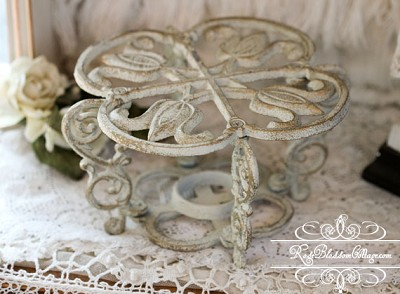 Shabby Chic  Cottage Cast Iron Tea light Food Warmer