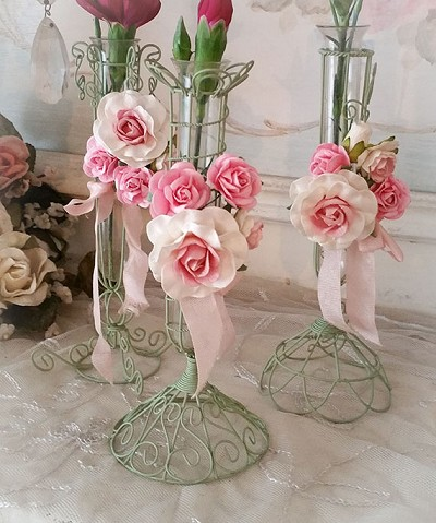 Romantic Pink Roses Flower Lacy Wire Bud Vases Set 3