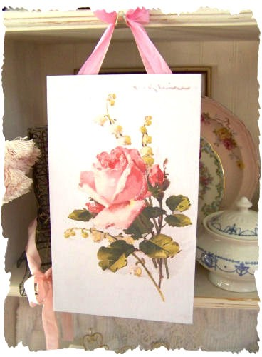 Shabby Rose & Lily of the Valley Image Plaque