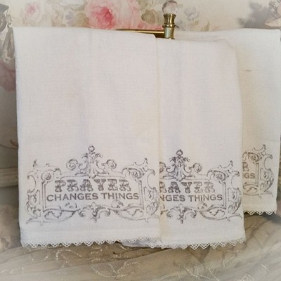 Prayer Changes Things Towel Set of 3 Low Lint Cotton Huck