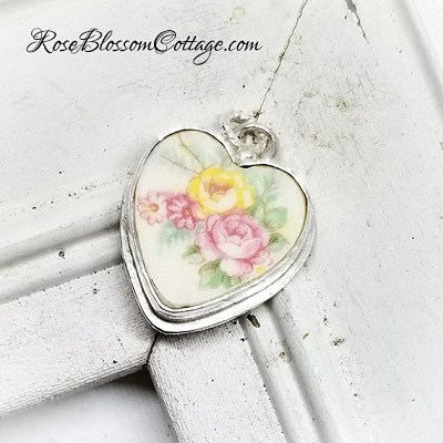 Broken China Jewelry Vintage Yellow and Peach Pink Roses Sterling Charm