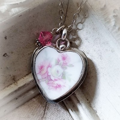 Antique Soft Pink Roses Bone Broken China Jewelry Heart Charm Pendant Necklace