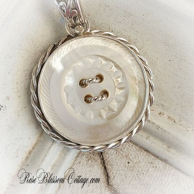 Antique Mother of Pearl Carved MOP Button Sterling Necklace Pendant