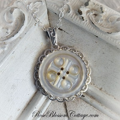 Antique Mother of Pearl Button Deeply Carved Sterling Scallop Pendant Necklace