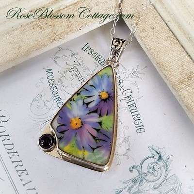 Purple Asters w/ Amethyst Triangle Broken China Jewelry Pendant Necklace