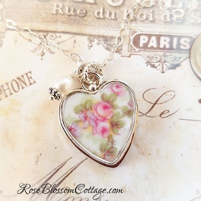 Austrian Pink Rose Vintage Broken China Jewelry Sterling Heart Charm Necklace