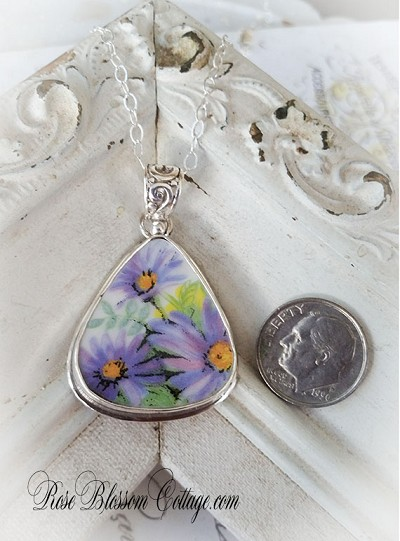Purple Asters Assymetrical Broken China Jewelry Pendant Necklace