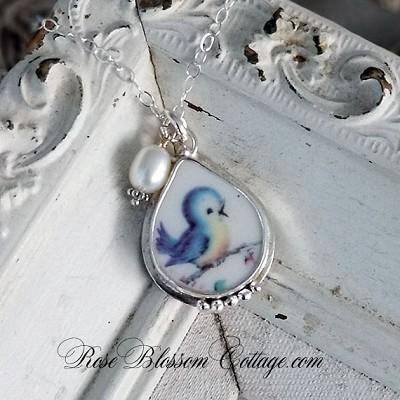 Blue Bird Broken China Jewelry Tear drop Sterling Silver Pendant Necklace
