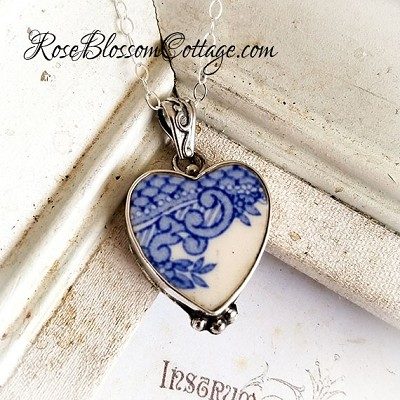 Blue White Vintage Broken China Jewelry Sterling  Pendant Necklace
