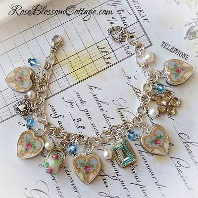 Ainsley Vintage Broken China Jewelry Sterling Bead Charm Bracelet w/Color options