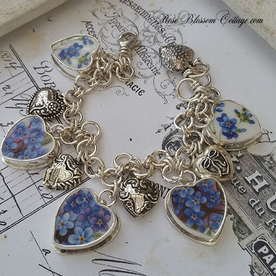 Forget Me Not Hearts Broken China Jewelry Sterling Bead Charm Bracelet