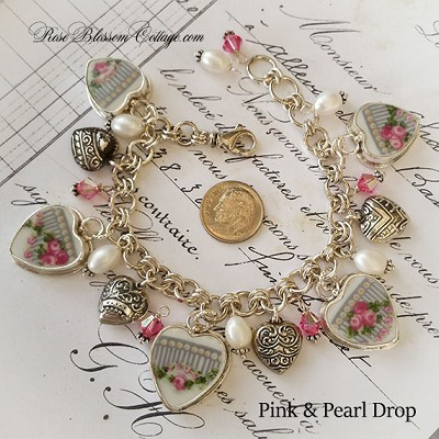 Cottage Vintage Pink Roses Broken China Jewelry Sterling Heart Bead Charm Bracelet  Choice of Beading