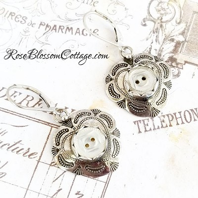 Antique Mother of Pearl Baby Buttons Sterling Heart Earrings