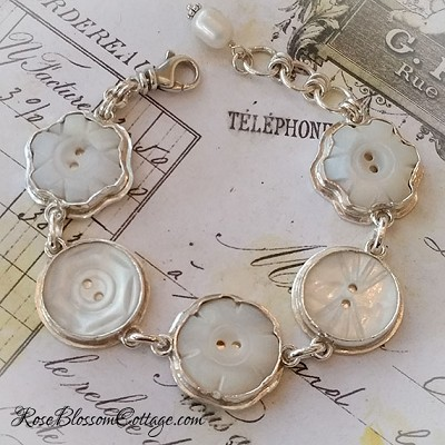 Antique Mother of Pearl Carved Flower & Rounds Button Sterling Bracelet