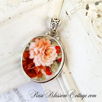 Cabbage Peach Rose Porcelain Sterling Oval Broken China Jewelry Necklace