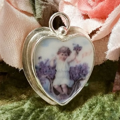 Angel in Violets Broken China Jewelry Sterling Charm Pendant