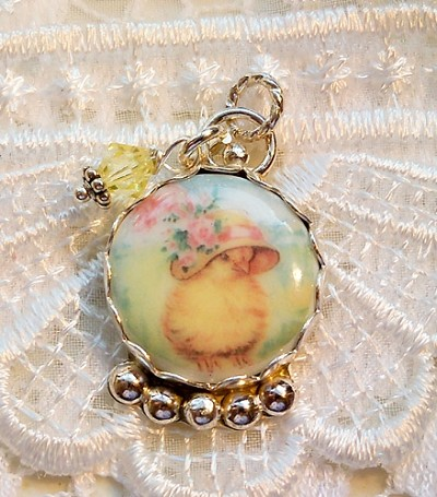 Chick Easter Hat Porcelain Crystal Sterling Charm