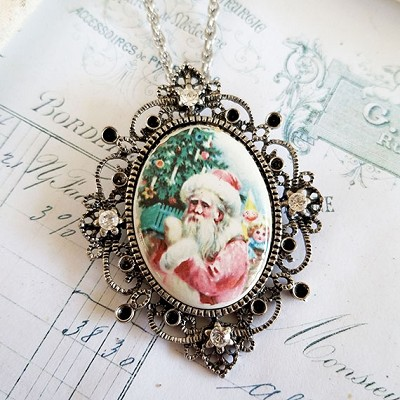 Porcelain Pink Santa Claus with Tree Silver Pendant w/ Chain