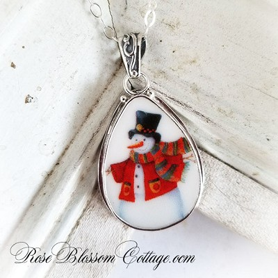 Broken China Jewelry Scarf Snowman Teardrop Pendant Necklace