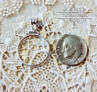 Dime coin holder sterling silver pendant charm lucky dime coin holder sterling silver pendant charm aloadofball Choice Image