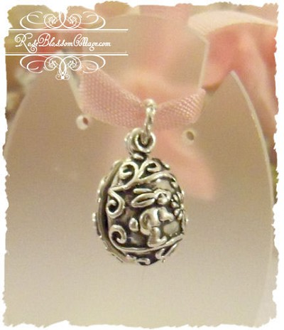 Sterling Easter Egg Bunny Charm
