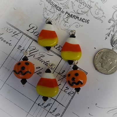 Sterlng Halloween Lampwork Charms Candy Corn & Scary Pumpkins