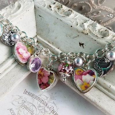 Broken China Jewelry Vintage English Chintz James Kent Fenton Du Barry Floral Chintz Heart Bracelet