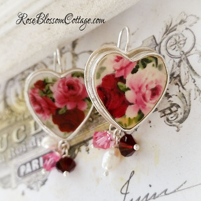 Red Pink Broken China Jewelry Crystal & Pearl Earrings