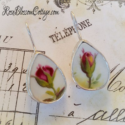 Old Country Roses Pink Rosebuds Broken China Jewelry Tear Drop Earrings