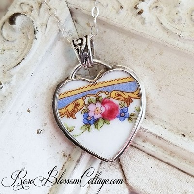 Vintage Heart Ornate Bail Broken China Jewelry Pendant Necklace