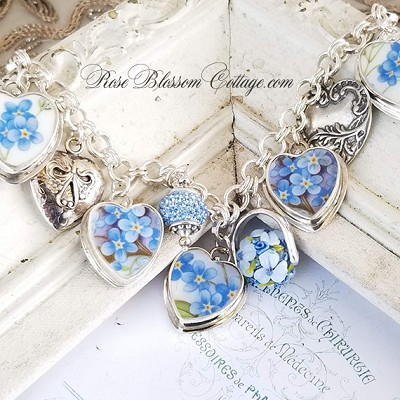 Forget Me Not Flowers Hearts Broken China Jewelry Sterling Charm Bracelet