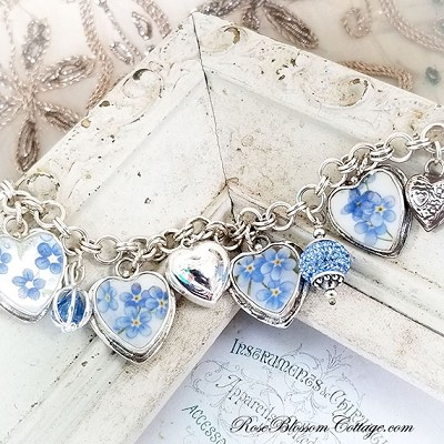 Forget Me Not Broken China Jewelry Locket Flowers Hearts Sterling Charm Bracelet