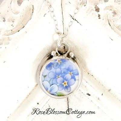 Forget Me Not Round Charm Sterling silver Broken China Jewelry Pendant