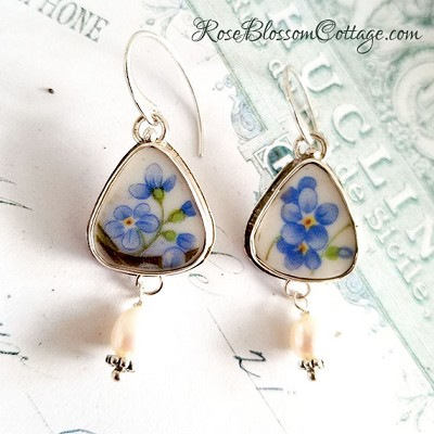 Forget Me Not Floral Broken China Jewelry Triangle Pearl Drop Earrings