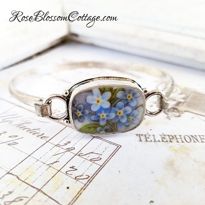 Forget Me Not Porcelain Broken China Jewelry Beaded Sterling Bangle Bracelet