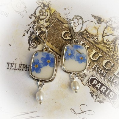 Cushion Shaped Broken China Jewelry Forget me Not Sterling Freshwater Pearl Earrings