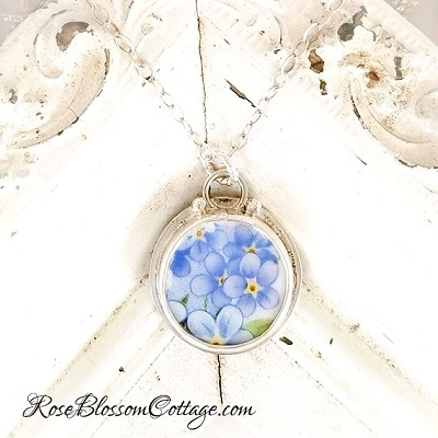 Forget Me Not Round Sterling silver Charm  Broken China Jewelry Pendant