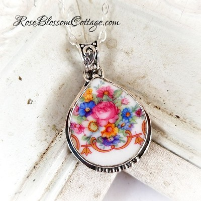 Floral Bouquet Broken China Jewelry Fat Teardrop Pendant Necklace