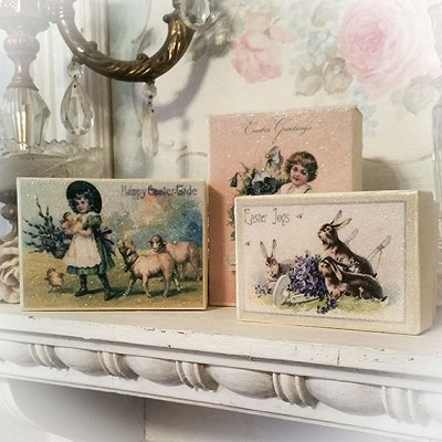 Old Fashioned Easter Set of 3 Nesting Glitter Boxes
